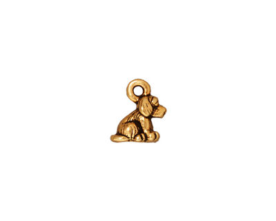 TierraCast Antique Gold (plated) Dog Charm 7x10mm