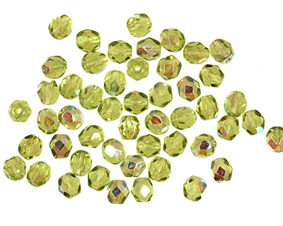 Czech Fire Polished Glass Olivine AB Round 4mm