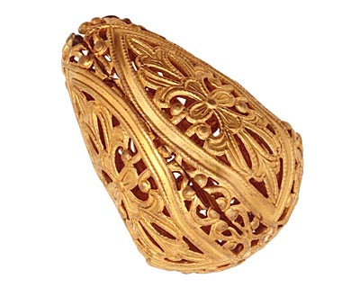 Brass Filigree Teardrop 38x26mm