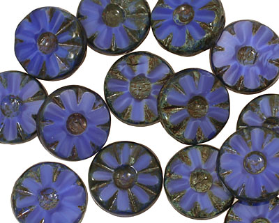 Czech Glass Denim Dreams Flower Window Coin 12mm