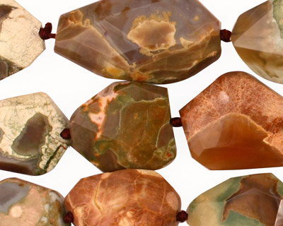 Thunder Egg Agate Faceted Flat Slab 14-22x11-15mm