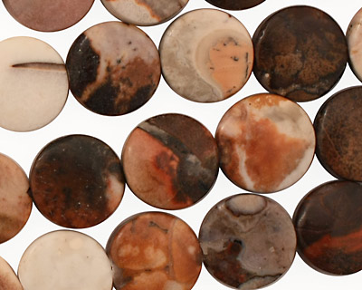 Conglomerate Jasper Puff Coin 12mm