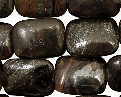 Natural Banded Hematite Thin Pillow 20x15mm