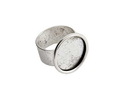 Nunn Design Silver (plated) Large Circle Adustable Ring 21mm