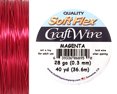 Soft Flex Magenta Craft Wire 28 gauge, 40 yards