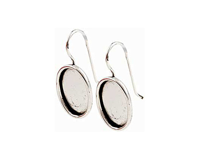 Nunn Design Antique Silver (plated) Small Oval Frame Earring 12x17mm