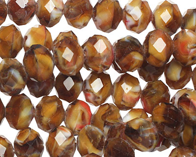 Pecan Pie Crystal Faceted Rondelle 8mm