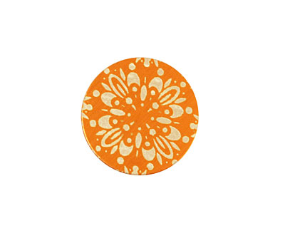 Lillypilly Orange Kaleidoscope Anodized Aluminum Disc 19mm, 24 gauge