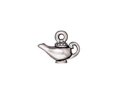 TierraCast Antique Silver (plated) Aladdin's Lamp Charm 17x13mm