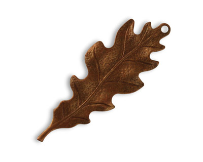 Vintaj Artisan Copper Taliesin Leaf Pendant 15x39mm