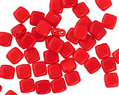 Czech Glass Opaque Red 2-Hole Tile 6mm