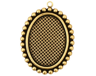 Stampt Antique Brass Dotted Fringe Oval Setting 18x25mm