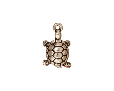TierraCast Antique Silver (plated) Turtle Charm 11x18mm