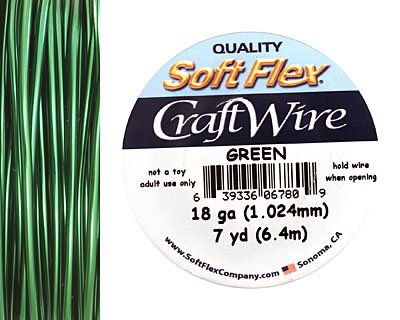 Soft Flex Green Craft Wire 18 gauge, 7 yards