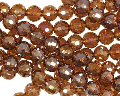 Dark Topaz AB Crystal Micro-Faceted Round 6mm