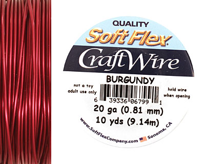 Soft Flex Burgundy Craft Wire 20 gauge, 10 yards