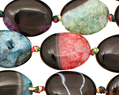 Black & Rainbow Agate Flat Oval 20x15mm