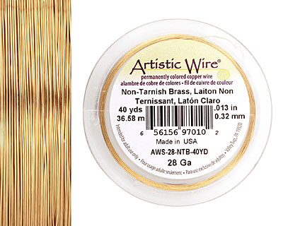 Artistic Wire Non-Tarnish Brass 28 gauge, 40 yards