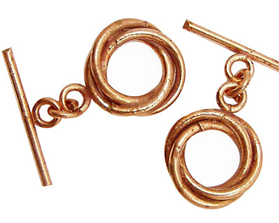 Copper Knotted Toggle Clasp 17mm, 24mm Bar