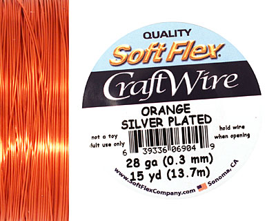 Soft Flex Silver Plated Orange Craft Wire 28 gauge, 15 yards