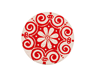 Lillypilly Red Scrolling Daisy Anodized Aluminum Disc 25mm, 24 gauge