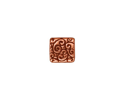 TierraCast Antique Copper (plated) Square Scroll Bead 9mm