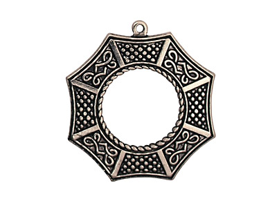 Stampt Antique Pewter (plated) Bagua Pendant 24x26mm