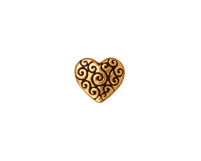 TierraCast Antique Gold (plated) Heart Scroll Bead 10x11mm