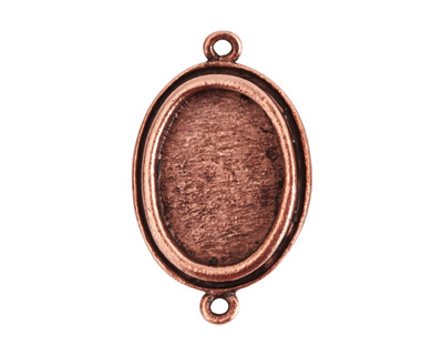Nunn Design Antique Copper (plated) Traditional Oval Bezel Pendant Link 31x19mm