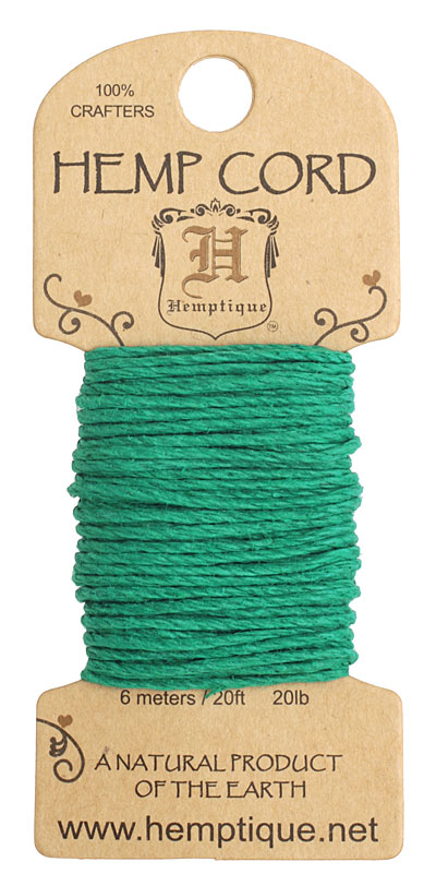 Green Hemp Twine 20 lb, 20 ft