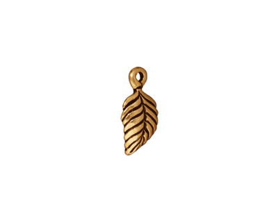TierraCast Antique Gold (plated) Birch Leaf Charm 7x15mm