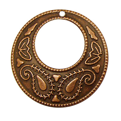 Stampt Antique Copper (plated) Paisley Gypsy Hoop 38mm