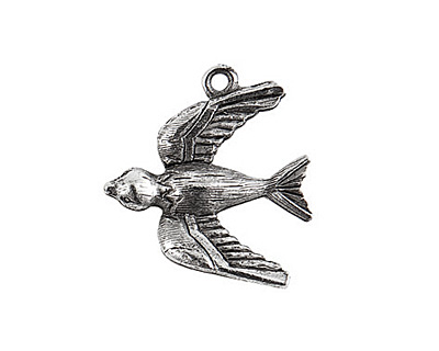 Nunn Design Antique Silver (plated) Bird Charm 20x22mm