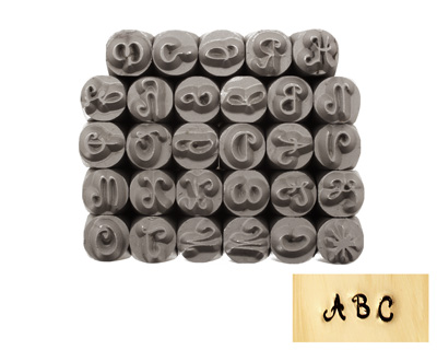 Tranquil Script Uppercase Letters Metal Stamp Set 4mm