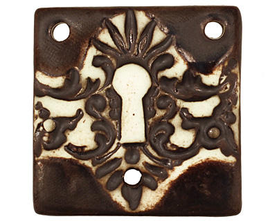 Earthenwood Studio Ceramic 3 Hole Victorian Keyhole Square Pendant 36mm