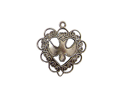 Stampt Antique Pewter (plated) Dove Heart Charm 20x22mm