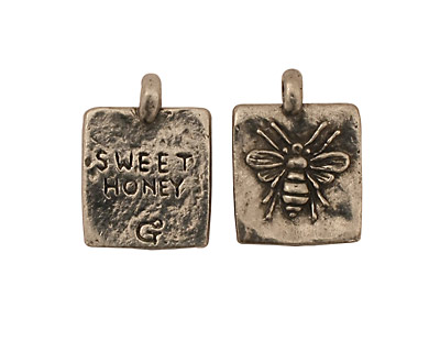 Green Girl Pewter Sweet Honey Bee 13x18mm