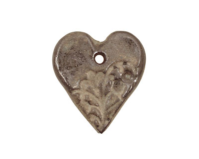 Gaea Ceramic Sage on Chocolate Romantic Heart 29x33mm