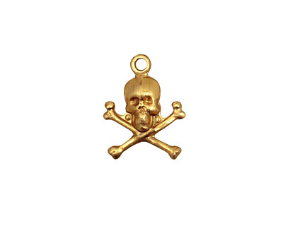 Brass Skull & Crossbones Charm 13x17mm
