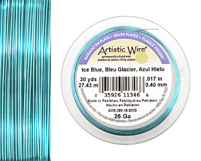Artistic Wire Silver Plated Ice Blue 26 gauge, 30 yards