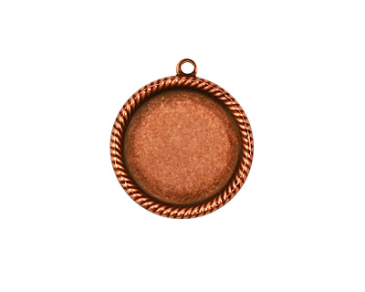 Stampt Antique Copper (plated) Herringbone Round Setting 15mm