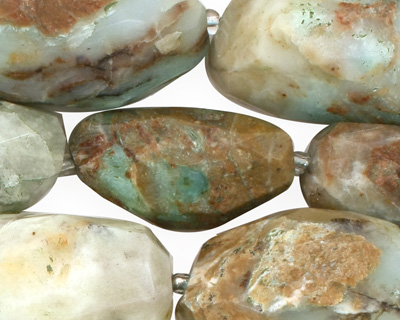 Peruvian Blue Opal Faceted Tumbled Nugget 24-40x15-20mm