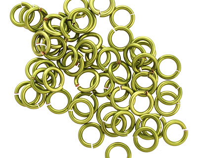 Peridot Enameled Copper Round Jump Ring 6mm, 18 gauge