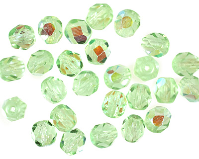 Czech Fire Polished Glass Peridot AB Round 6mm