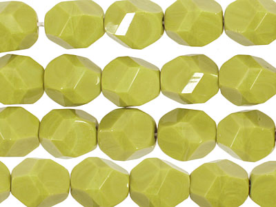 Czech Glass Chartreuse Faceted Nugget 10x8mm