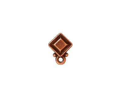 TierraCast Antique Copper (plated) Faceted Diamond Ear Post 10x12mm