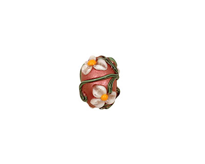 Grace Lampwork Ivory Mist Flower on Coral Rondelle 9x14mm