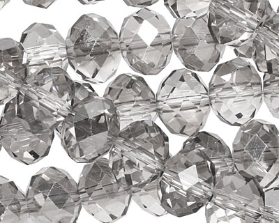 Luster Silver Crystal Faceted Rondelle 10mm