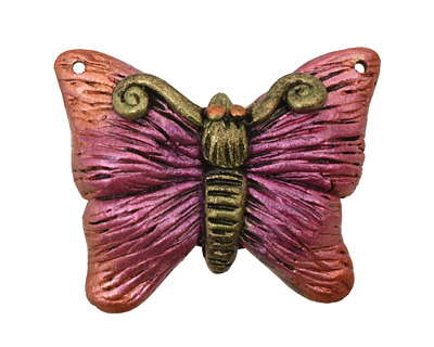Poison Tree Polymer Clay Pink Butterfly 33-34x27-28