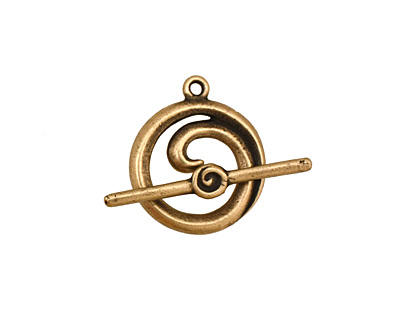 Antique Brass (plated) Simple Spiral Toggle Clasp 18x16mm, 24mm bar